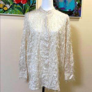 🆕 Mango Off White Textured Button Down Shirt